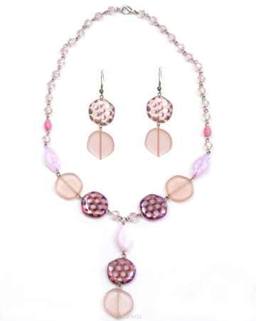 Купить Бусы,серьги Bohemia Style, цвет: розовый матовый с напылением. 1248 4181 072