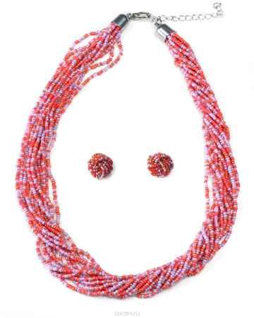 Купить Бусы,серьги Bohemia Style, цвет: коралловый, сиреневый. 372 3577 01