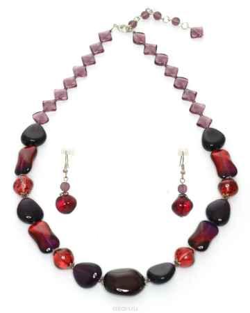 Купить Бусы,серьги Bohemia Style, цвет: красно-бордовый. K0241 1848