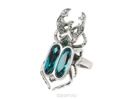 Купить Кольцо Jenavi Коллекция Эскарбахо Жук-Олень, цвет: серебряный, голубой. h6203043. Размер 18