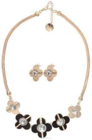 Купить Комплект украшений Taya: колье, серьги, цвет: золотистый, черный. T-B-10246