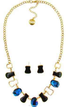 Купить Комплект украшений Taya: серьги, колье, цвет: золотистый, черный, синий. T-B-10241