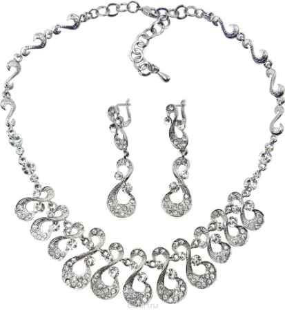 Купить Комплект украшений Taya: серьги, колье, цвет: серебристый. T-B-9519