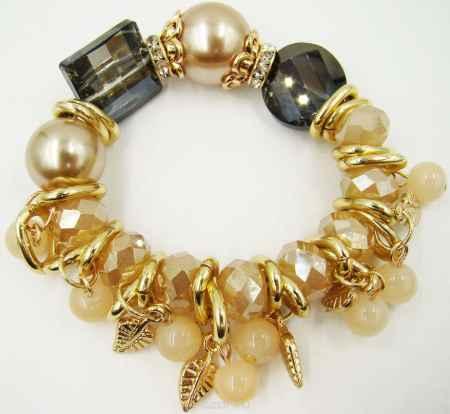 Купить Браслет Taya, цвет: золотой, бежевый, серый. T-B-9969