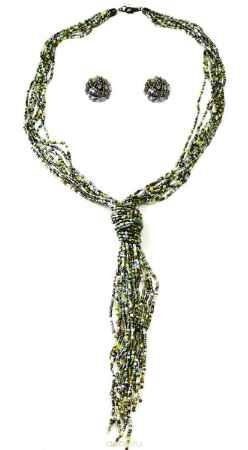 Купить Бусы,серьги Bohemia Style, цвет: хаки, светло-зеленый. 1248 3793 01