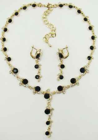 Купить Комплект украшений Taya: серьги, колье, цвет: золотой, темно-синий. T-B-9538