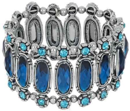 Купить Браслет Taya, цвет: серебристый, синий. T-B-6793
