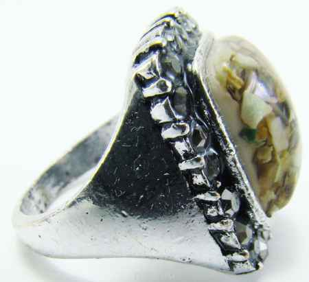 Купить Кольцо Taya, цвет: серебряный, бежевый. T-B-8675