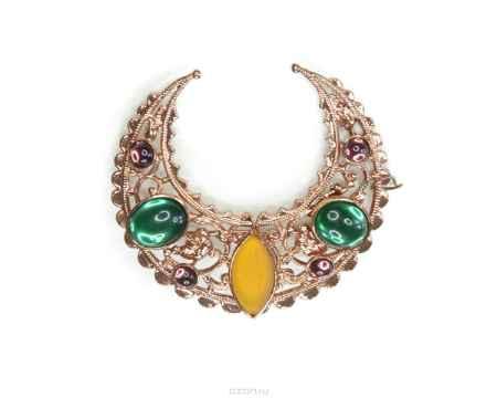 Купить Брошь Bohemia Style, цвет: изумрудный, горчичный матовый, фиолетовый, под античную медь. 7460 2149 00