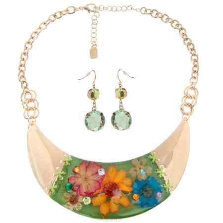 Купить Набор бижутерии Avgad: колье, серьги, цвет: золотистый, зеленый. H-477S853