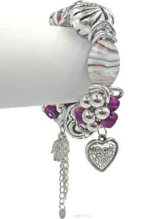 Купить Браслет Taya, цвет: серебристый, белый, сиреневый, пурпурный. T-B-10335
