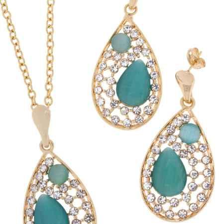 Купить Комплект украшений Happy Garnets: цепочка с подвеской, серьги, цвет: золотой, голубой. SN0093