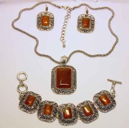 Купить Комплект украшений Fashion House: колье, браслет, серьги, цвет: серебристый, коричневый. FH32023