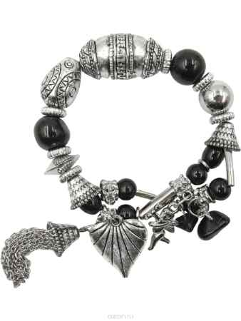 Купить Браслет Taya, цвет: черный, серебристый. T-B-10334