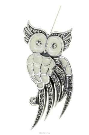 Купить Брошь Jenavi Коллекция Bubo Энггано, цвет: серебряный, белый. r7523600. Размер 6,5/2,5