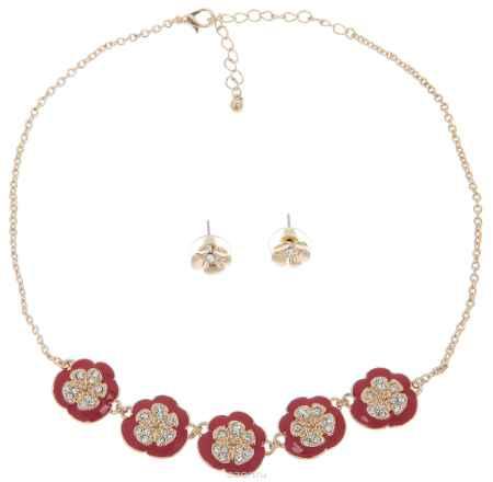 Купить Комплект украшений Avgad: колье, серьги, цвет: золотистый, красный. H-477S973