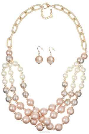 Купить Комплект украшений Taya: колье, серьги, цвет: золотистый, белый. T-B-10154