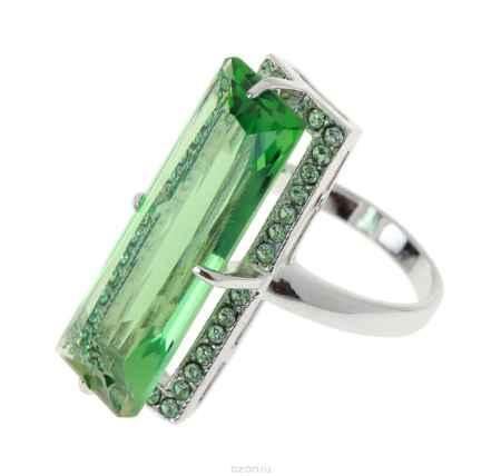 Купить Кольцо Jenavi Коллекция Подиум Креатив, цвет: серебряный, зеленый. h187f030. Размер 19