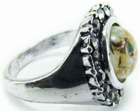 Купить Кольцо Taya, цвет: серебряный, коричневый, зеленый. T-B-8679