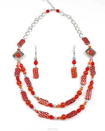 Купить Бусы,серьги Bohemia Style, цвет: красно-оранжевый с серебристым напылением. 1248 4236 23