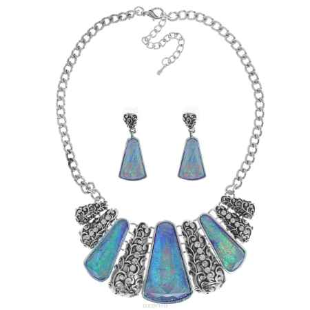 Купить Комплект украшений Taya: колье, серьги, цвет: мультиколор, синий. T-B-9271