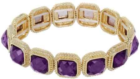 Купить Браслет Taya, цвет: золотистый, фиолетовый. T-B-5454
