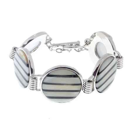 Купить Браслет Infiniti, цвет: перламутровый, серебряный, черный. PE0262