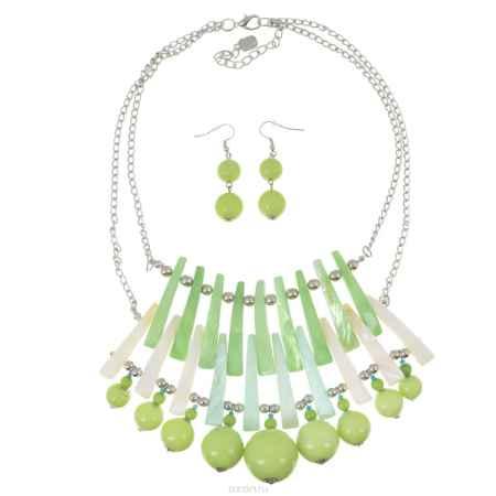 Купить Комплект Avgad: колье, серьги, цвет: серебристый, светло-зеленый. H-477S869