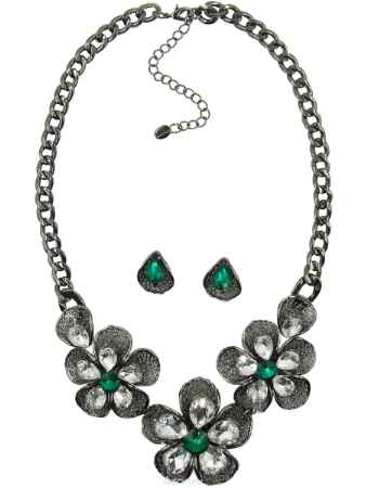 Купить Набор бижутерии Taya, цвет: серебристый, зеленый. T-B-10380