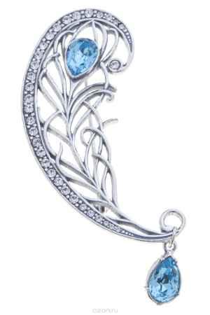 Купить Брошь Jenavi Коллекция Жар-птица Фифи, цвет: серебряный, голубой. e7893640. Размер 2,5x7