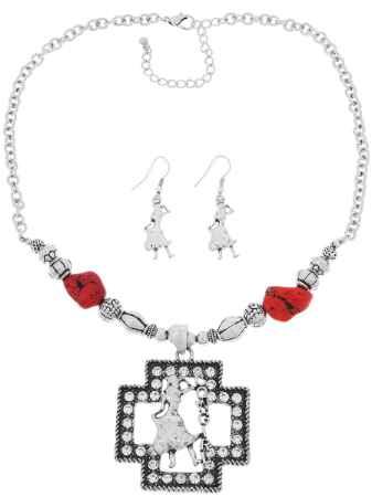 Купить Комплект украшений Avgad: колье, серьги, цвет: серебристый, красный. H-477S928