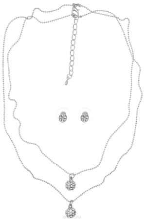 Купить Комплект украшений Taya: колье, серьги, цвет: серебристый. T-B-5709