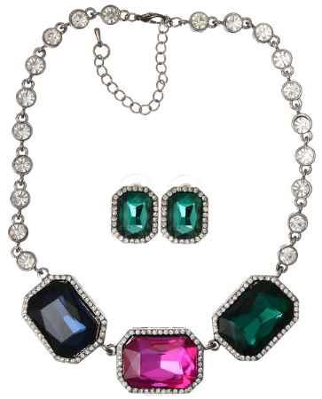 Купить Комплект украшений Fashion House, цвет: зеленый, синий, розовый, серебряный. FH32225