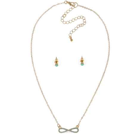 Купить Комплект украшений Taya: колье, серьги, цвет: золотистый, мятный. T-B-5447