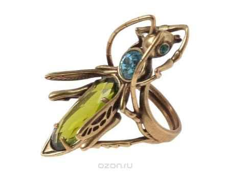 Купить Кольцо Jenavi Коллекция Эскарбахо Кузнечик, цвет: бронзовый, зеленый. h618w030. Размер 19