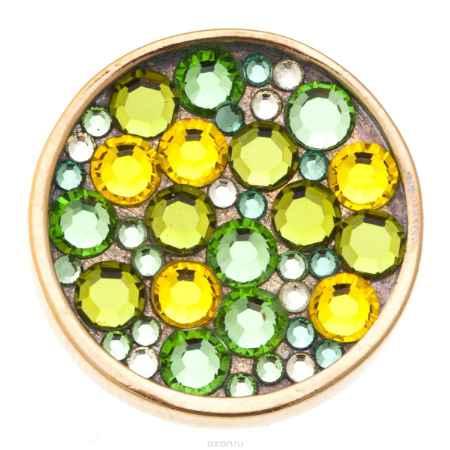 Купить Накладка на кольцо-основу Jenavi Коллекция Ротор Сцрев, цвет: золотой, мультиколор. k193pr23. Размер 2