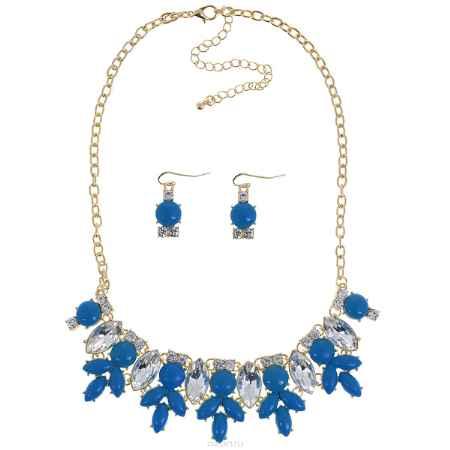 Купить Набор Taya: колье, серьги, цвет: золотистый, синий. T-B-6646