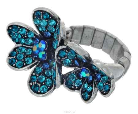 Купить Кольцо Taya, цвет: бирюзовый, серебристый. T-B-7316