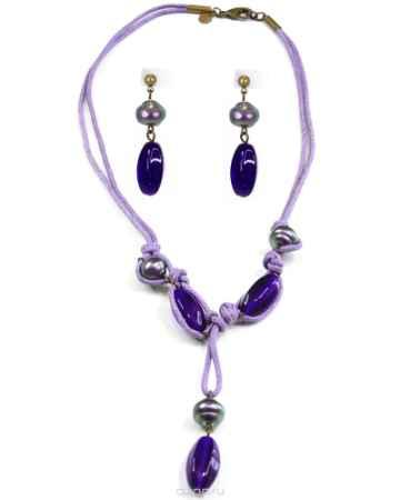 Купить Бусы,серьги Bohemia Style, цвет: сине-фиолетовый, текстиль. 0211 0398 01