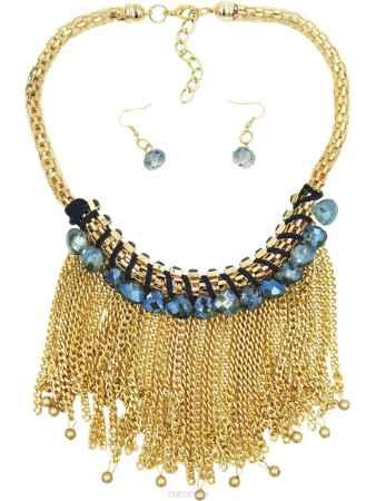 Купить Набор бижутерии Taya, цвет: золотистый, синий. T-B-9025