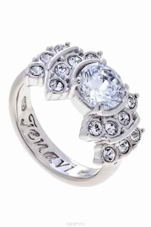 Купить Кольцо Jenavi Коллекция Teona Гонле, цвет: серебряный, белый. f424f0a0. Размер 19