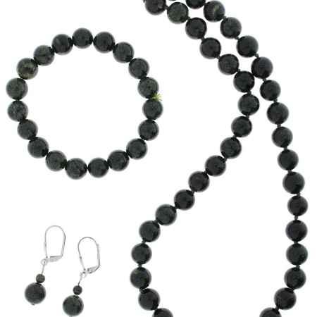 Купить Комплект украшений Migura: бусы, браслет, серьги, цвет: темно-зеленый. SU0362