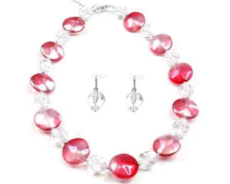 Купить Бусы,серьги Bohemia Style, цвет: розовый с напылением, прозрачный. 182 6012 01