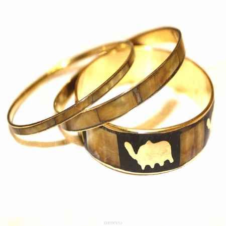Купить Набор браслетов Ethnica, цвет: коричневый, черный, золотой, 3 шт. 099040