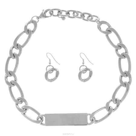 Купить Комплект украшений Taya: колье, серьги, цвет: серебристый. T-B-5758