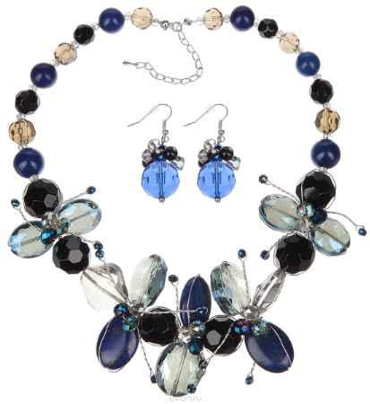 Купить Комплект украшений Avgad: колье, серьги, цвет: синий, черный. WST4642GLMUL. Авторская работа
