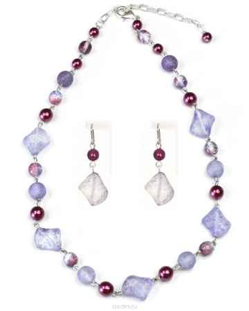 Купить Бусы,серьги Bohemia Style, цвет: серо-голубой, бордовый. BW1218 8386 00