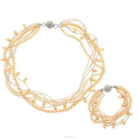 Купить Комплект украшений Happy Charms Family: колье, браслет, цвет: желто-коричневый, серебристый. KU4264