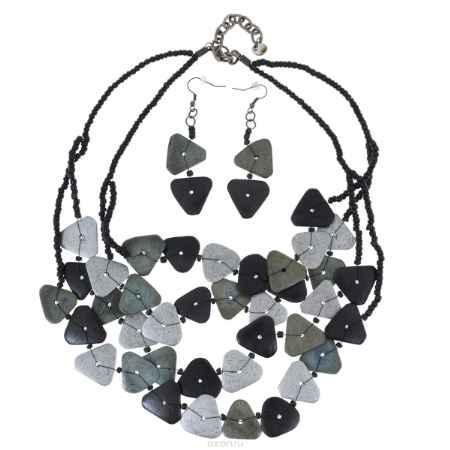 Купить Комплект Avgad: колье, серьги, цвет: серый, темно-серый, голубо-зеленый. H-477S820