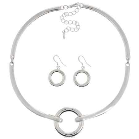 Купить Набор Taya: колье, серьги, цвет: серебристый. T-B-6132